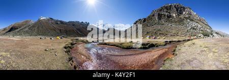 The Ishinca base camp in Cordillera Blanca mountains, Peru - Stock Photo