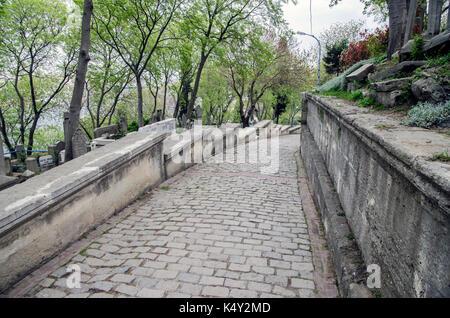 Eyup cemetery in Istanbul - Stock Photo