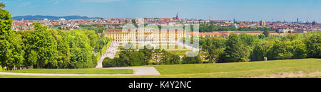VIENNA, AUSTRIA - JULY 30, 2014: The panorama of Schonbrunn palace and gardens. - Stock Photo