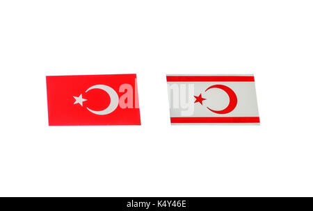 North Cyprus flag isolated on white - Stock Photo