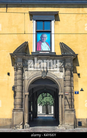 Papal Window at the Bishops' Palace at 3, Franciszkanska Street - Krakow, Poland. - Stock Photo