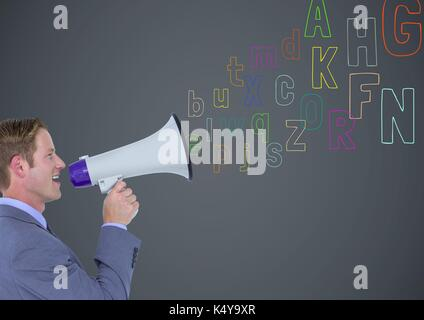 Digital composite of man speaking by the  megaphone with colour letters coming up from that - Stock Photo