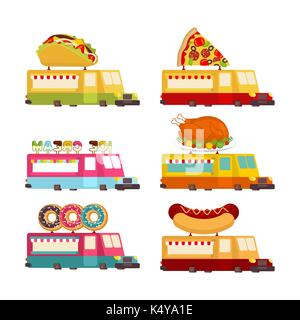 Car food truck set. Fast food car collection. taco and hot dog. Pizza and donuts. Vector illustration - Stock Photo