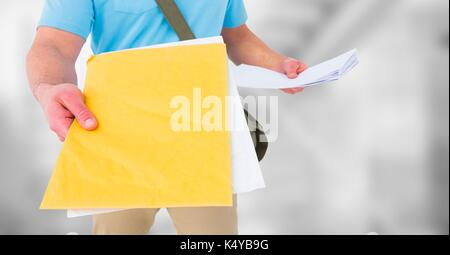 Digital composite of Delivery man mid section with letters against blurry grey stairs - Stock Photo