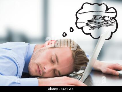 Digital composite of Business man asleep at laptop dreaming of holiday against blurry grey office - Stock Photo