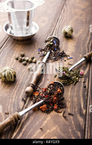Background with different types of tea leaves - Stock Photo