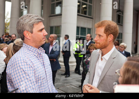 Belfast, UK. 07th Sep, 2017. St Anne's Square, Belfast, Northern Ireland. HRH Prince Harry 9th September 2017. Credit: - Stock Photo
