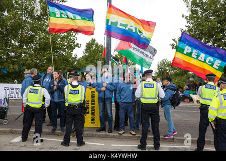 London, UK. 7th Sep, 2017. Veterans for Peace protest outside the ExCel Centre against the DSEI arms fair to be - Stock Photo