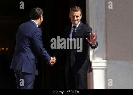 Athens, Greece. 07th Sep, 2017. Greek Prime Minister Alexis Tsipras welcomes French President Emmanuel Macron at - Stock Photo