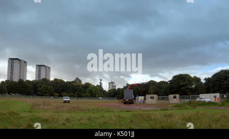 Glasgow, Scotland, UK. 8th September.Disused football pitches in Knightswood Park, in the city's north west saw - Stock Photo
