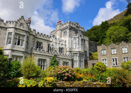 External view of Kylemore Abbey Connemara, County Galway, Republic of Ireland - Stock Photo