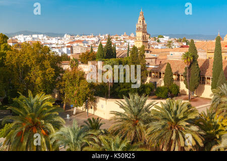 view of Mezquita from Alcazar in Cordoba, Spain - Stock Photo