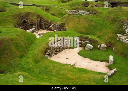 Europe, United Kingdom, Scotland, Orkney, Sandwick,  Skara Brae (Skerrabra, Neolithic village, 3200BC) - Stock Photo