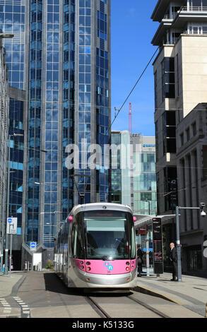 Midland Metro tram service in Bull St, Birmingham city centre, UK. - Stock Photo