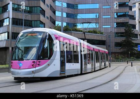 Midland Metro tram service arriving in Birmingham city centre, West Midlands, UK. - Stock Photo