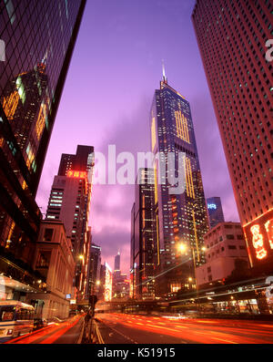 Busy street scene in financial district, Hong Kong, China - Stock Photo