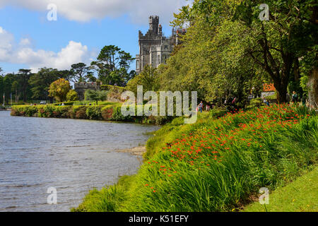 Kylemore Abbey on the banks of Pollacappul Lough in Connemara, County Galway, Republic of Ireland - Stock Photo