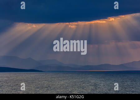 sunrise in Ionian Islands. Lefkada island Greece - Stock Photo