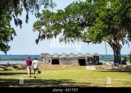 St. Saint Simons Island Georgia National Park Service Fort Frederica National Monument archaeological site ruins - Stock Photo
