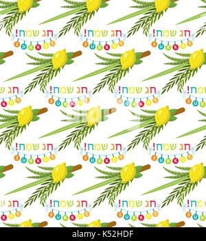 Happy Sukkot seamless pattern. Jewish holiday huts endless background. Repeating texture with etrog, lulav, Arava, - Stock Photo