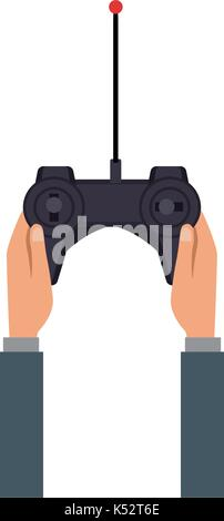hand hold drone controller gamepad with antenna - Stock Photo