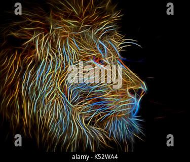A neon glow portrait of a male Lion - Stock Photo