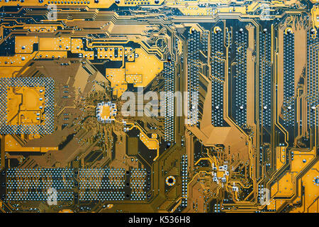 Integrated microprocessor and sockets on circuit of computer motherboard. - Stock Photo