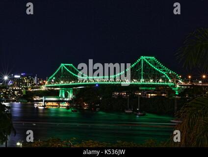 Night view of the Story Bridge across the Brisbane River, Brisbane, Queensland, Australia - Stock Photo