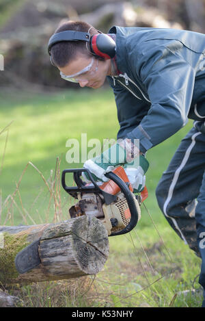 young man cutting trees using a chainsaw - Stock Photo
