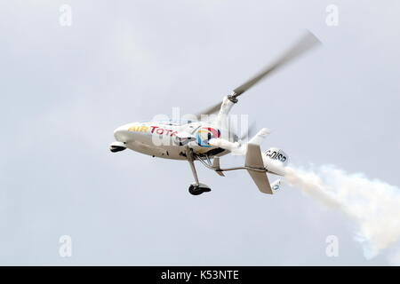 G-DISP, a RotorSport UK Calidus autogyro piloted by Peter Davies, performing at the Scottish International Airshow - Stock Photo