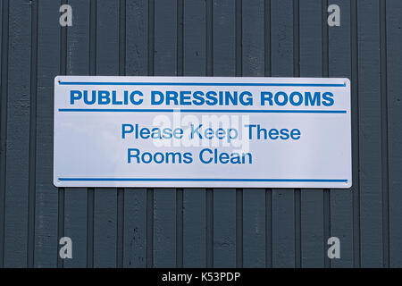 Public dressing rooms, please keep them clean sign. - Stock Photo