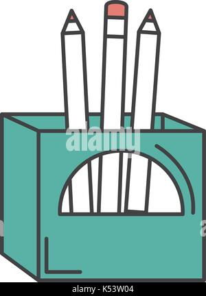 pencils box packing icon - Stock Photo