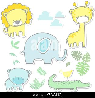 vector cartoon illustration of six cute baby animals and jungle leaves isolated on white background, ideal for nursery - Stock Photo
