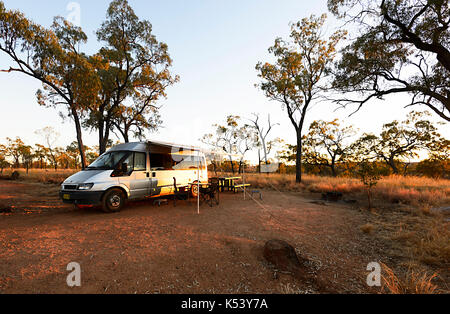 Ford Transit campervan bush camping in Porcupine Gorge National Park, Queensland, QLD, Australia - Stock Photo