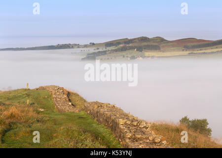Hadrian's Wall, Northumberland, England - looking west as early morning mist hangs over low ground near Cawfield - Stock Photo