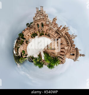 Little planet 360 degree sphere. Panorama of Colomares castle. Benalmadena. Spain - Stock Photo