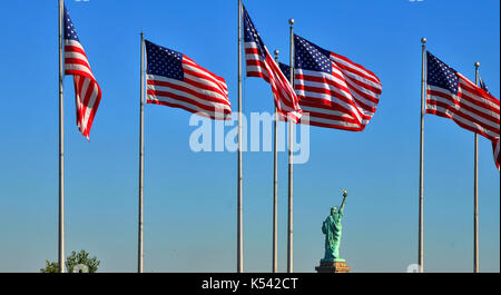 View of Statue of Liberty from Liberty State Park - Stock Photo