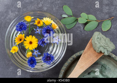 cosmetic clay and flower in glass bowl and branch of eucalyptus, for spa treatments, in ceramic plate mud on wooden - Stock Photo