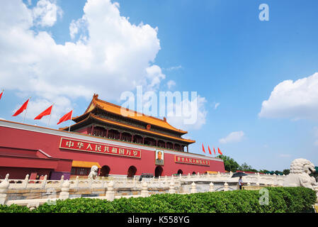 Tiananmen Square, Tiananmen Gate in Beijing,China. - Stock Photo