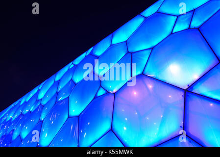 Night view of National Aquatic Center (Water Cube) in Beijing,China. - Stock Photo