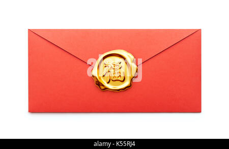 Gold seal on red packet or red envelope isolated on white background, Chinese calligraphy 'FU' (Foreign text means - Stock Photo