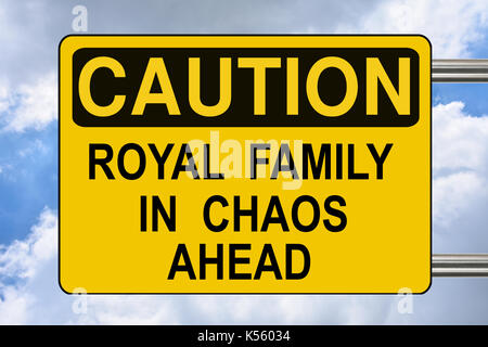 Royal family in chaos ahead, road sign - Stock Photo