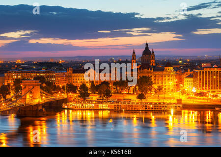 Morning view of city centre of Budapest over the river Danube, Hungary. - Stock Photo