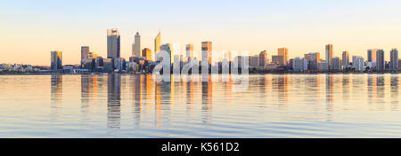 Perth city skyline and the Swan River at sunrise. Western Australia - Stock Photo