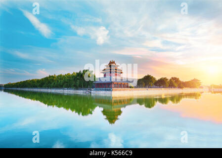 The forbidden city at sunset in Beijing,China. - Stock Photo