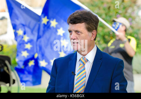 Gerard Batten MEP (UKIP: London) UKIP Brexit spokesman, interviewed on College Green, Westminster, as Parliament - Stock Photo