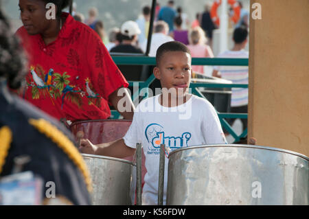 Steel band playing on the Caribbean Island of St Maartin which has been devistated by Hurricane Irma. Stock pictures - Stock Photo