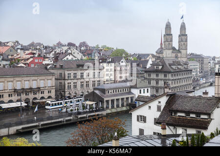 Cityscape of old Zurich - the largest city in Switzerland - Stock Photo