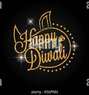 Indian diya oil lamp. The festival of lights. Happy Diwali golden lettering for your greeting card design - Stock Photo