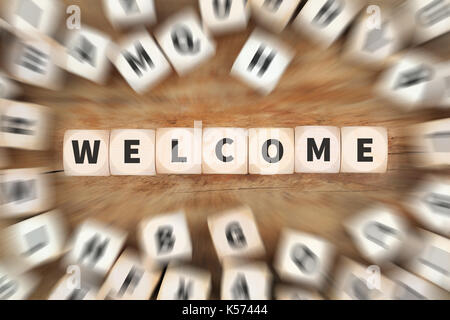 Welcome refugees refugee customer customers immigrants dice business concept idea - Stock Photo